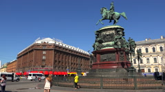 Monument to Emperor Nicholas I. St. Petersburg. 4K. Stock Footage