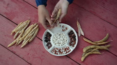 Closeup of farmer hands shell husk decorative colorful bean pods Stock Footage