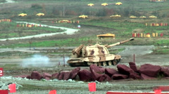 "The 152 mm howitzer 2S19 ""Msta-S"" move. Russia Stock Footage"