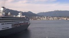 Cruise ship floating in Vancouver harbor Stock Footage