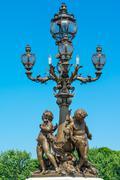 Sculpture cherubs on the bridge alexander's iii Stock Photos