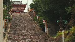 Looking up the long temple staircase Stock Footage