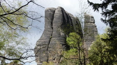 Rock monument in Saxon Switzerland national park Stock Footage