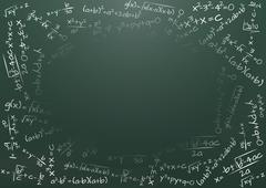 illustration of blank chalkboard with math formula - stock illustration