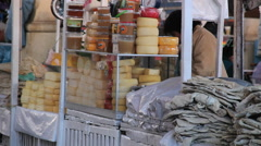 Cusco market cheese for sale c Stock Footage