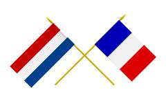 flags, france and netherlands - stock illustration
