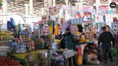 Cusco market stuff for sale Stock Footage