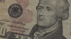 Close up of 10 dollar note, USD panning Stock Footage