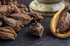 Black cardamom pods - stock photo