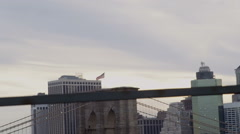 Stock Video Footage of Brooklyn Bridge viewed from Manhattan Bridge in New York City
