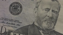 Close up of 50 dollar note, USD panning Stock Footage