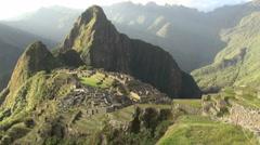 Machu Picchu dramatic evening light Stock Footage