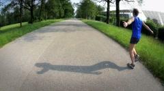Man feels freedom when jogs Stock Footage