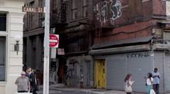 Do Not Enter Sign Alley on Canal Street Manhattan New York City NYC Slow Motion - stock footage