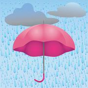 Illustration of rain and umbrella Stock Illustration