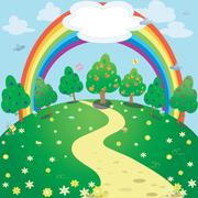 Illustration of rainbow over the meadow Stock Illustration