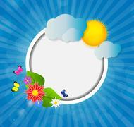 Frame on Sunny Shiny Background Vector Illustration Stock Illustration