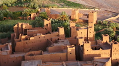 Ait Benhaddou Kasbah at dawn, Morocco, High Atlas Mountains, ksar Ait Benhaddou, Stock Footage