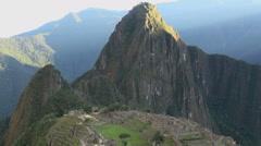 Machu Picchu sun lights Huayna Picchu timelapse Stock Footage