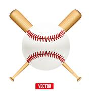 Vector illustration of baseball leather ball and wooden bats. - stock illustration