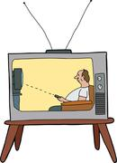 Lazy man watching tv Stock Illustration