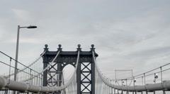 Manhattan Bridge New York City NYC Brooklyn Crossing Transportation Travel USA Stock Footage