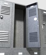 grey school lockers perspective - stock illustration