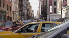 Miserable Gridlock Traffic in Downtown Manhattan, New York City Stock Footage