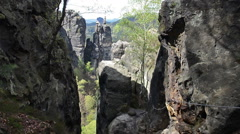Stone formations and via ferrata in Saxon Switzerland national park Stock Footage