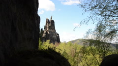 Stone monument in Saxon Switzerland national park Stock Footage