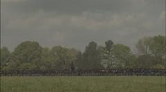 Union Soldiers walking in a line, Civil War scenes - stock footage