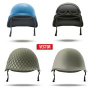 Set of Military helmets. Vector Illustration. Stock Illustration