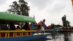 Trajinera boat at Xochimilco park Stock Footage