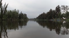 Wide view of Xochimilco nature at the channels - stock footage