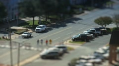 Tilt shift walkers in the city Stock Footage