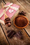 ingredients for artisan chocolate - stock photo