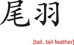 Chinese Sign for tail, tail feather Stock Illustration