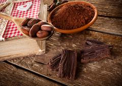Ingredients for artisan chocolate Stock Photos