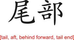 Chinese Sign for tail, aft, behind forward, tail end - stock illustration