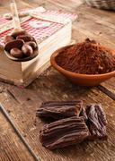 ingredients for artisan chocolate - stock photo