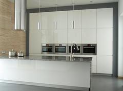 modern kitchen interior in white - stock photo