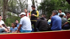 A boat filled with mexican local farmers and workers Stock Footage