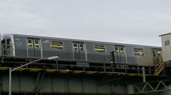 Elevated Subway Train in Brooklyn, New York City Stock Footage