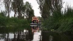 Trajinera boat at Xochimilco park - stock footage