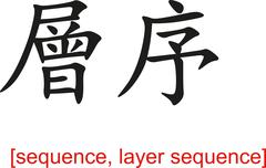 Chinese Sign for sequence, layer sequence - stock illustration