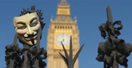 Stock Video Footage of Revolution, Guy Fawkes mask and Big Ben 4K