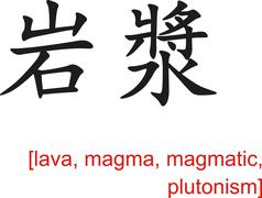 Chinese Sign for lava, magma, magmatic, plutonism - stock illustration