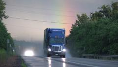 Trucks, Tractor Trailer, Cargo, Freight, Delivery, Rain Stock Footage