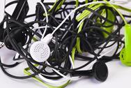 Stock Photo of twisted headphones