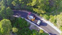 Stock Video Footage of Road resurfacing on Island Mljet, aerial